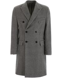Dolce & Gabbana Plaid Double-breasted Coat - Grey