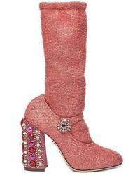 Dolce & Gabbana Embellished Heeled Boots - Pink