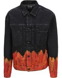 Marcelo Burlon Flame Printed Denim Jacket - Black