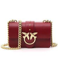 Pinko Simply Bird Detail Chain Link Strap Mini Shoulder Bag - Red