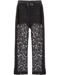 Valentino Sheer Panel Wide-leg Pants - Black