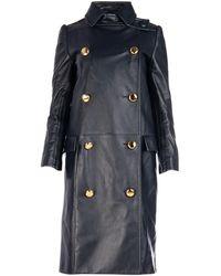 Prada Double-breasted Leather Coat - Black