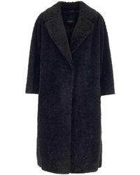 Max Mara Faux Shearling Coat - Black