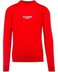 Balmain Logo Intarsia Jumper - Red