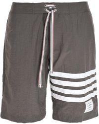 Thom Browne 4-bar Stripe Swim Shorts - Gray