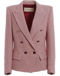 Alexandre Vauthier Houndstooth Patterned Double-breasted Blazer - Red