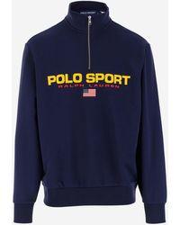 Polo Ralph Lauren Sport Logo Printed Half-zip Sweatshirt - Blue