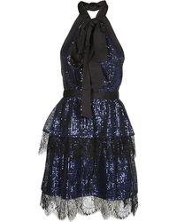 Self-Portrait Tiered Sequin Dress - Blue