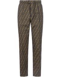 Fendi Ff Motif Trousers - Brown