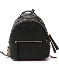 Fendi Ff Logo Embossed Mini Backpack - Black