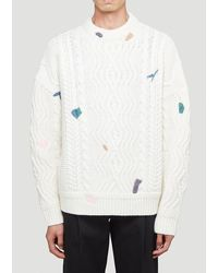 ADER error Cable Knit Sweater - White