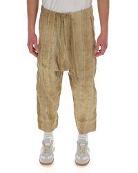 Uma Wang Textured Striped Trousers - Natural
