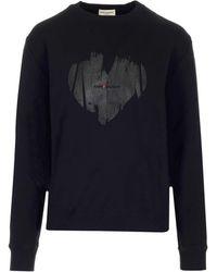 Saint Laurent Heart Print Jumper - Black