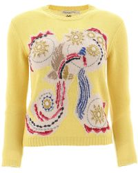 Dior Embroidered Crewneck Jumper - Yellow