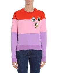 Carven Embroidered Colour-block Sweatshirt - Purple