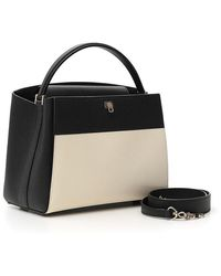 Valextra Contrast Colour Block Tote Bag - Black