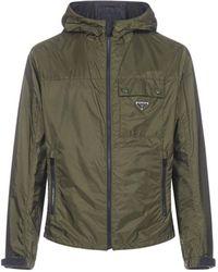 Prada Logo Hooded Jacket - Green
