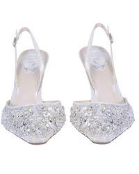 Rene Caovilla René Caovilla Crystal Embellished Slingback Pumps - White