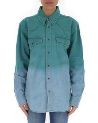 Étoile Isabel Marant Dip-dye Buttoned Denim Shirt - Green