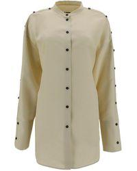 Jil Sander Mandarin Collar Waist-tie Shirt - Natural