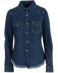 Marques'Almeida Fringed Denim Long-sleeve Shirt - Blue