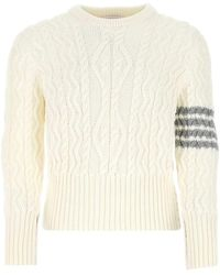 Thom Browne 4-bar Cable Knit Sweater - White