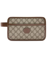 Gucci GG Print Travel Pouch - Brown