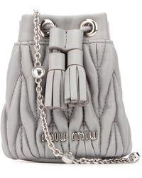 Miu Miu Matelassé Mini Shoulder Bag - Gray