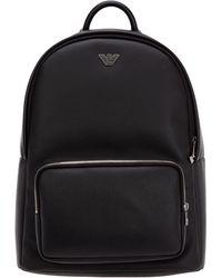 Emporio Armani Logo Plaque Backpack - Black