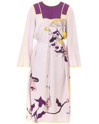 Tory Burch Mushroom Party Trapunto Dress - Purple