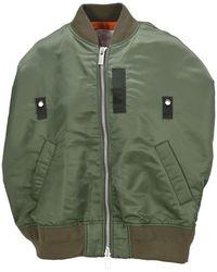 Sacai High-low Short-sleeve Bomber Jacket - Green