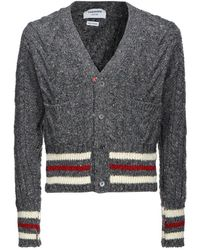 Thom Browne Striped Cable Knit Cardigan - Gray