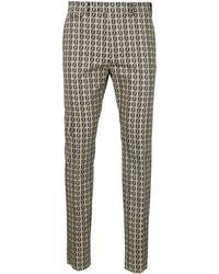 Fendi Ff Logo Motif Jacquard Pants - Gray