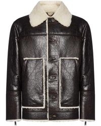 DSquared² Buttoned Leather Jacket - Brown