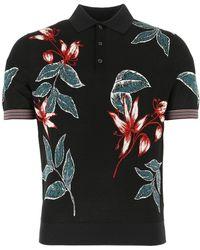 Prada Floral Jacquard Polo Shirt - Black