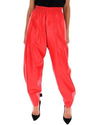 Bottega Veneta Loose Fit Leather Trousers - Red