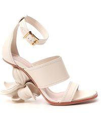 Alexander McQueen No.13 Flower Heel Sandals - White