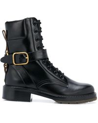 Chloé Leather Lace-up Boots - Black
