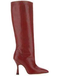 Stuart Weitzman Parton Crocodile-embossed Leather Knee-high Boots - Red