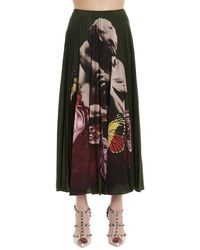 Valentino X Undercover Graphic Printed Pleated Skirt - Green