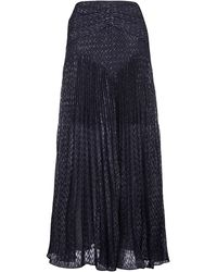 Self-Portrait Sp23123navy Polyester Skirt - Blue