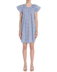 Opening Ceremony Printed Cotton Poplin Dress With Flounce Detail - Blue