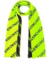 Balenciaga Allover Logo Scarf - Green