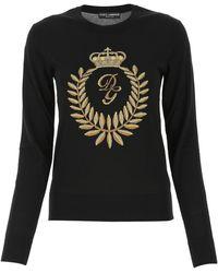 Dolce & Gabbana Intarsia Crewneck Sweater - Black