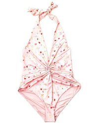 Ganni Floral Printed One-piece Swimsuit - Pink