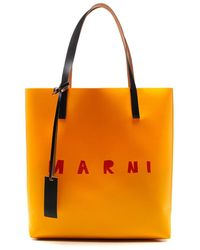 Marni Logo Print Two-tone Tote Bag - Yellow