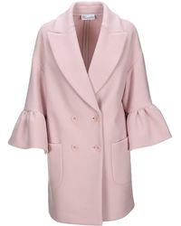 RED Valentino Redvalentino Ruffle-detailed Sleeve Double-breasted Coat - Pink