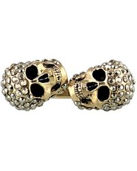 Alexander McQueen Gold Tone Embellished Twin Skull Ring - Metallic