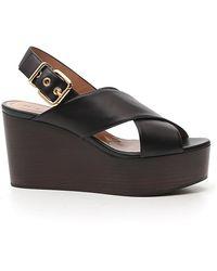 Marni Cross-strap Wedge Sandals - Black