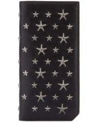 Jimmy Choo Embellished Black Leather Cooper Wallet Nd Uomo